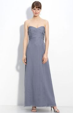 This color would work...Amsale Strapless Crinkle Chiffon Gown available at #Nordstrom
