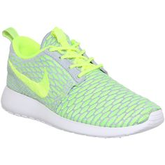 Nike Roshe Run Flyknit featuring polyvore, fashion, shoes, sneakers, nike, sport, obuca, trainers, hers trainers, wolf grey electric green, flyknit trainer, nike footwear, nike sneakers and gray sneakers