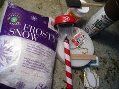 Dollar Store Crafts » Blog Archive » Make a North Pole Street Light:  Solar path light  Foam circle  Fake snow  Popsicle sticks  Chain necklace  Paper shapes  Paint  Glue