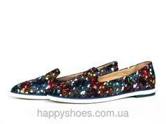 """Туфли лоферы кожаные с синим цветочным принтом: продажа, цена в Запорожье. туфли женские от """"HappyShoes"""" - 223479743"""
