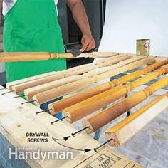 Paint ALL 4 sides of Spindles @ once ~ Finishing spindles is a pain because you have to finish three sides, let them dry and then turn them over and do the unfinished side. But not if you drive long drywall screws into the spindle ends and then rest the screws on two boards or sawhorses. An added bonus is that you can keep your fingers out of the wet finish by holding onto the screws as you paint and turn.