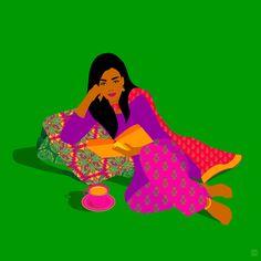 Fatemah Baig is an artist from Pakistan who celebrates the beauty of diversity and women in her wonderful artworks. Indian Illustration, Graphic Design Illustration, Car Illustration, Pop Art Wallpaper, Cartoon Wallpaper, Madhubani Art, Indian Folk Art, India Art, Brown Art