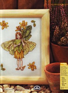 Cross stitch - fairies: Celandine fairy - Cicely Mary Barker (free pattern with chart)