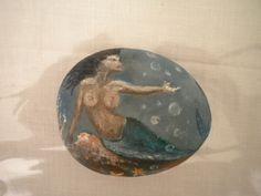 Ζωγραφική σε βότσαλο - Γοργόνα, Painted pebble-Mermaid