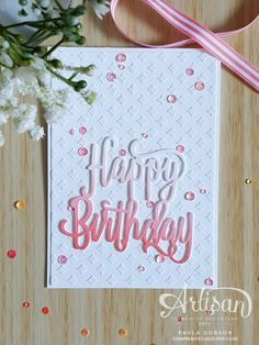 Create a sponged ombre look to your dies for a quick card featuring the Happy Birthday Gorgeous bundle of products - Paula Dobson September 2017 Homemade Birthday Cards, Girl Birthday Cards, Birthday Cards For Women, Bday Cards, Birthday Greetings, Homemade Cards, Birthday Quotes, Birthday Images, Female Birthday Cards