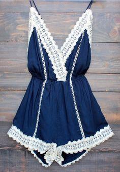 Blue Patchwork Lace Tie Back Backless Short Jumpsuit