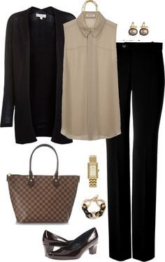 """""""Taupe & Black"""" by summitsp ❤ liked on Polyvore -- business professional Business Casual Outfits, Office Outfits, Mode Outfits, Business Fashion, Fashion Outfits, Womens Fashion, Business Women, Business Chic, Office Attire"""