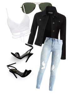 """""""My First Polyvore Outfit"""" by natasja-nettie ❤ liked on Polyvore featuring Ray-Ban, LE3NO and LULUS"""