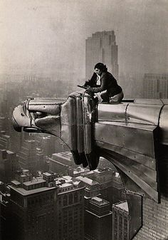 Margaret Bourke-White ---Metaphotography on the Chrysler Building. She was the first photographer for Fortune magazine (1929) and the first female photojournalist to be hired by Life Magazine (1935).