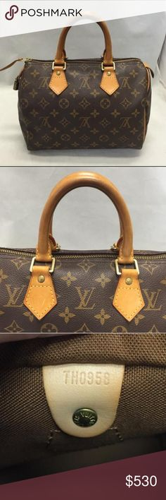 LV speedy 25 100% authentic! vintage speedy 25 monogram. great condition. inside the bag is clean, no pen marks, no odor. made in france. no key or lock. 9.8 x 7.5 x 5.9 inches (Length x Height x Width). selling this on Ⓜ️ercari. Bags Satchels