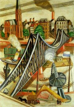 Max Beckmann (German 1884–1950) [Neue Sachlichkeit, German Expressionism] The Iron Bridge (View of Frankfurt), 1922. Kunstsammlung Nordrhein-Westfalen, Düsseldorf, Germany.