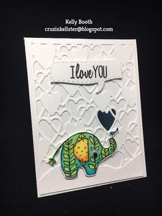 We can't get over how cute this lil elephant is from Krista Schneider's Jungle Cuties Clear Stamp Set . Visit Kelly Booth's blog to learn more about her card: http://cruzinkellster.blogspot.com/2017/02/a-little-love-note.html.
