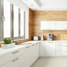 There are many ways of incorporating white kitchen cabinets into your kitchen design. And we have a gallery featuring some stylish ideas how to do that. White Kitchen Cabinets, Kitchen Cabinet Design, Kitchen Designs, Kitchen Ideas, Oak Street, Wood Backsplash, Winter House, Kitchen Organization, Kitchen Furniture