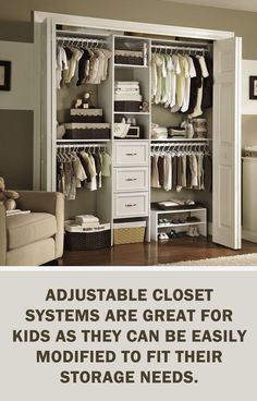 with ClosetMaid: Adjustable closet systems are great for kids . - Before After DIY Kids Storage, Closet Storage, Closet Organization, Trendy Bedroom, Kids Bedroom, Kid Closet, Closet Ideas, Basement Closet, Room Closet