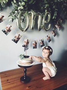 Baby Birthday Decorations, 1st Birthday Photoshoot, 1st Birthday Party For Girls, Baby Boy 1st Birthday Party, First Birthday Photos, Card Birthday, Birthday Greetings, Happy Birthday, First Year Photos