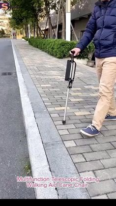 The Elderly Man with A Crutch Stool Tripod Seat Stick Multifunction Telescopic Folding Walking Aid Cane Chair for Elderly Outdoor Travel Rest Stool Folding Chair Home Gadgets, Gadgets And Gizmos, Fitness Tips For Men, Cool Gadgets To Buy, Walking Sticks, Walking Stick With Seat, Cool Inventions, Useful Life Hacks, Cool Things To Buy
