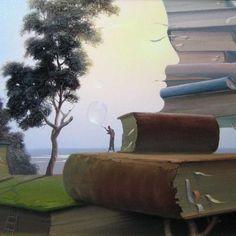 Reader and books / Lector y libros (ilustración de Víctor Bregeda)