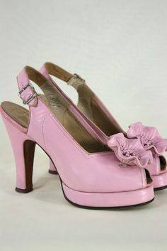 Shoes ~ 1940's Cherry Blossom Peep Toes
