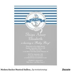 Modern Anchor Nautical Sailboat Boy Baby Shower 5x7 Paper Invitation Card