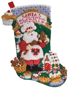 Bucilla Felt Applique Christmas Stocking Kit: Santa's Sweets Shop