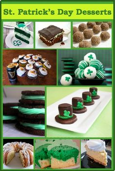 Top 10 St. Patty's Day Dessert Recipes  Perfect to spark up ideas for the St. Patrick's Day bake sale I'll be participating in. :D