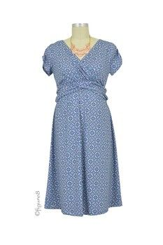 Hillary Luxe Jersey Nursing Dress in Blue Bloom by Japanese Weekend with free shipping