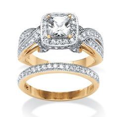 1.78 TCW Princess-Cut Cubic Zirconia Two-Piece Bridal Set in 18k Gold Over .925 Sterling Silver