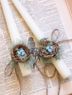 2 Bird Nest Taper Candles with moss and eggs . Cottage, country, shabby, farmhouse decor