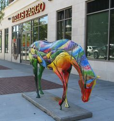 colorful horse statues are now a common sight in downtown ogden in . Cow Parade, 5th Grade Art, Horse Fly, Painted Pony, Horse Sculpture, Art Lesson Plans, Beautiful Horses, Art Lessons, Cows