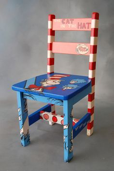 """Cat in the Hat"" auctioned at the E. John Gavras Center Imagination Library Celebration Silent Chair Auction"