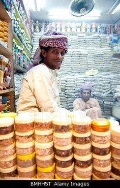 Market trader in spice market Muscat, Oman. Oh, the smell of frankincense and myrrh!