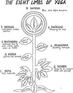 1 Yama-Auto reposacabezas 2 Niyama-Cómo comportarse en el mundo y con los otros 3 Asana-movimiento dentro de nuestro templo 4 Pranayama-Conexión con nuestra fuerza vital...; nuestra respiración 5. desapego Pratyahara-consciente 6. Dharana-El estudio de la mente 7. Dhyana-Contemplación 8. bienaventuranza unificado Samadhi-Indescriptible