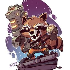 Here is the final Chibi Rocket. I should have prints available in the next few weeks in my shop. Here is the final Chibi Rocket. I should have prints available in the next few weeks in my shop. Chibi Marvel, Marvel Art, Marvel Dc Comics, Marvel Heroes, Marvel Avengers, Chibi Superhero, Cartoon Kunst, Comic Kunst, Cartoon Art
