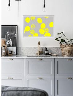 Abstract Lemon Print | Lemons Art | Citrus Print | Kitchen Art | Kitchen Print | Gray | Neon | Yellow Print | Yellow Art | Yellow Wall Art ---All Artwork is Printed on High Quality, 56 lb Premium Pro Matte Paper using Premium Quality Ink ---FREE Standard Shipping Anywhere in the