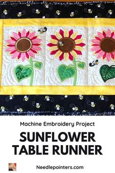 Buzz! Buzz! The bees love buzzing around this cute sunflower table runner. Learn more about this pretty, whimsical machine embroidery project. Machine Embroidery Projects, Quilting Projects, Sewing Projects, Cherry Flower, Fun Projects, Project Ideas, Types Of Craft, Bee Design, Quilt Tutorials
