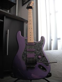 Black and Purple Charvel Stratocaster Styled Electric Guitar