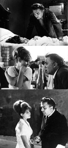 Federico Fellini directing Claudia Cardinale on the set of 8 1/2.