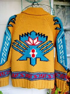 40s Vtg Cowichan Cardigan Sweater Indian Turkey Eagles Gold Red Blue White