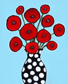 Red Poppies Aqua - Print by Shelagh Duffett of Nova Scotia available on etsy- AliceinParis Art Floral, Pop Art, Dots Free, Red Poppies, Painting Inspiration, Flower Art, Art Flowers, Art Lessons, Art For Kids