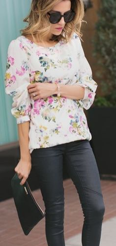 White Multi Pastel Floral Loose Blouse by Hello Fashion is a perfect spring staple.