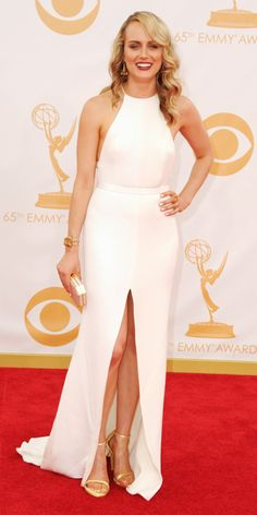 Taylor Schilling in Thakoon with shoes and clutch by Stuart Weitzman.