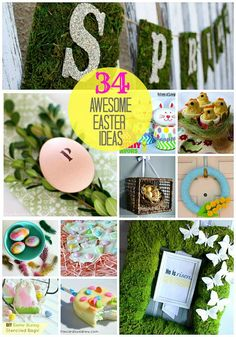 34 Awesome Easter Ideas. These DIY Easter projects are fun and easy. There are wreath ideas, yummy treats, decorated Easter eggs, bunny and much more. Spring time is here and weather is warming up!