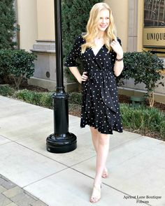 We're a polka dot & wrap dress loving store, no shame! We always keep the latest trends in our store for you ladies! (Dress $58) {S-L} #shopALBfolsom #springtrends