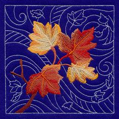 """Sashiko Maple Leaves SquareProduct ID:D8253 Size:5.85""""(w) x 5.87""""(h) (148.6 x 149.1 mm)Color Changes:13 Stitches:28707Colors Used:11"""