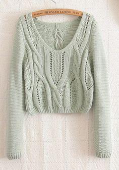 Zielony Zwykły Hollow-z długim rękawem Mieszanka Wełna Sweter