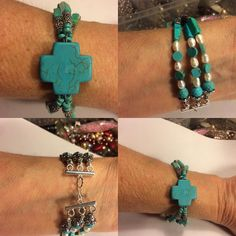 """Layered Turquoise and Tibetan Silver with Freshwater Pearls and Turquoise Cross Bracelet Size 7-8"""" $25. FREE SHIPPING. PayPal.me/pmiddleton"""