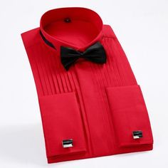 Brand 5Xl Men'S French Tuxedo Shirt Men Long Sleeve Dress Shirt Mens Solid Color Turn-Down Collar