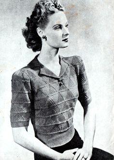 Vintage Women's Lacy Jumper, 1940's knitting pattern.