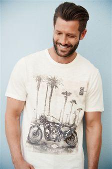 T-shirt motif moto blanc