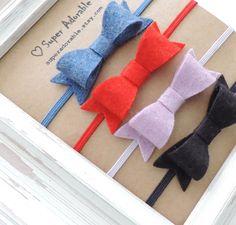 Set of 4 Mini Felt Bow Headbands, Newborn Headband, Skinny Elastic Headband, Baby Headband #handmade #etsyretwt